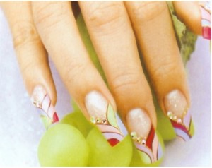Nail art using coloured acrylic or paints
